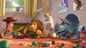 TOY STORY 3 (L-R) Woody, Mr. Pricklepants, Buttercup, Trixie ©Disney/Pixar. All Rights Reserved.